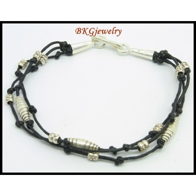 Waxed Cotton Cord Bead Hill Tribe Silver Handcrafted Bracelet [KH153]