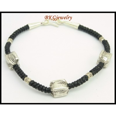 Handmade Jewelry Hill Tribe Silver Bracelet Waxed Cotton Cord [KH157]