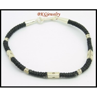 Handmade Bracelet Jewelry Hill Tribe Silver Waxed Cotton Cord [KH158]