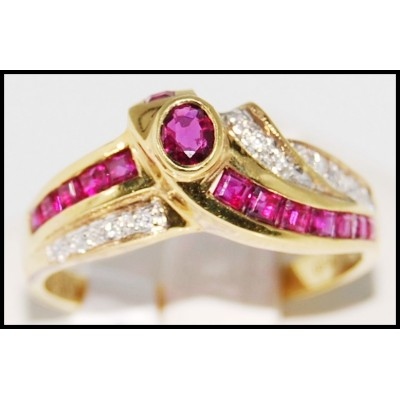 18K Yellow Gold Jewelry Diamond and Natural Ruby Ring [R0055]
