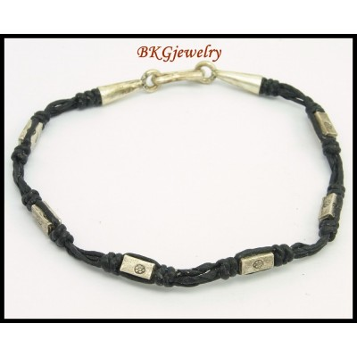 Waxed Cotton Cord Handmade Hill Tribe Silver Bead Bracelet [KH160]