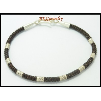 Handcrafted Waxed Cotton Cord Hill Tribe Silver Bead Bracelet [KH024]