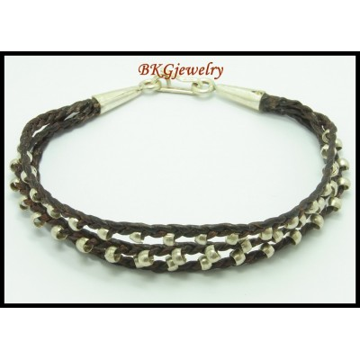 Hill Tribe Silver Bracelet Cotton Cord Wholesale Jewelry [KH053]