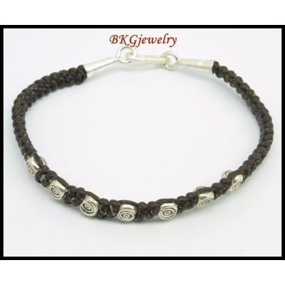 Hill Tribe Silver Bead Waxed Cotton Cord Bracelet Wholesale [KH155]