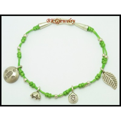 Waxed Cotton Cord Hill Tribe Silver Charm Bracelet Wholesale [KH103]