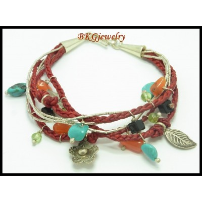 Hill Tribe Silver Jewelry Bracelet Waxed Cotton Wholesale [KH110]