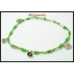 Hill Tribe Silver Bead Handmade Anklet Waxed Cotton Cord [KH084]