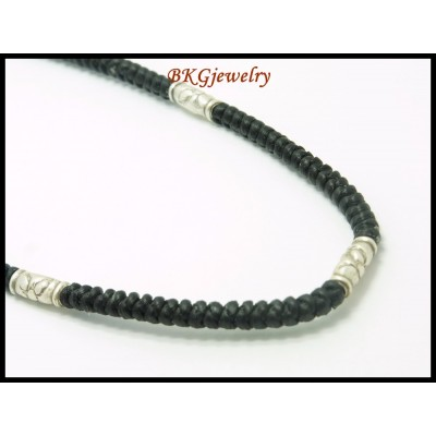 Waxed Cotton Cord Necklace Hill Tribe Silver Bead Wholesale [KH111]