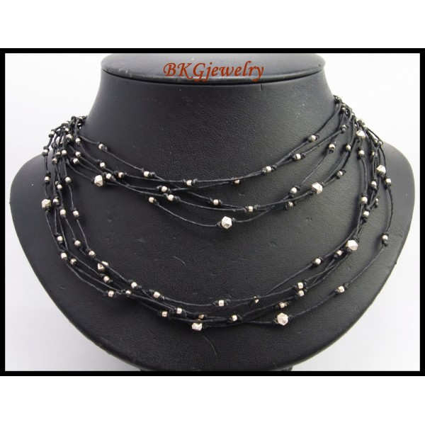 Hill Tribe Silver Bead Necklace Handcrafted Waxed Cotton ...