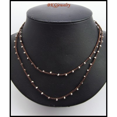 Waxed Cotton Cord Weaving Necklace Hill Tribe Silver Bead [KH122]