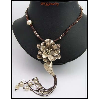 Hill Tribe Silver Flower Necklace Handcraft Waxed Cotton Cord [KH123]