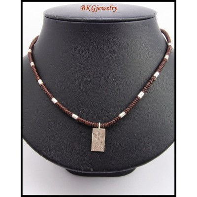 Waxed Cotton Cord Hill Tribe Silver Charm Necklace Wholesale [KH125]
