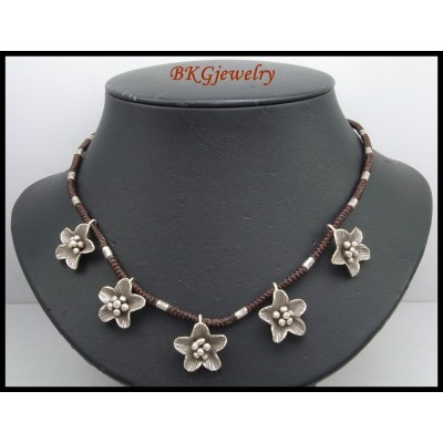Hill Tribe Silver Flower Waxed Cotton Cord Weaving Necklace [KH170]