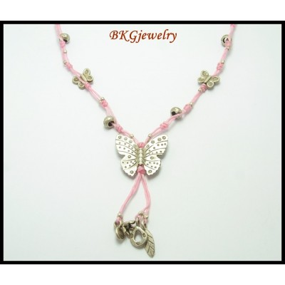 Handmade Hill Tribe Silver Butterfly Waxed Cotton Necklace [KH090]
