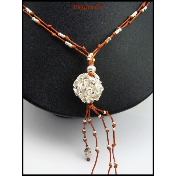 Weaving Waxed Cotton Cord Necklace Hill Tribe Silver Bead ...