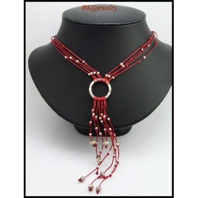 Bead Hill Tribe Silver Handmade Necklace Waxed Cotton Cord [KH131]