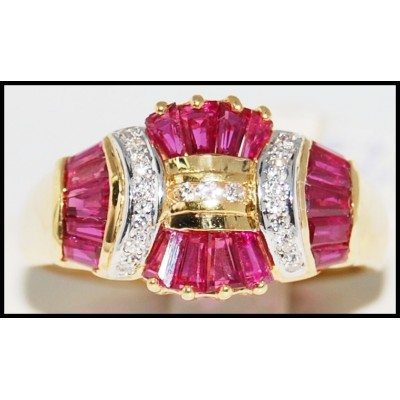 Wedding Ruby Ring and Diamond Unique 18K Yellow Gold [R0083]