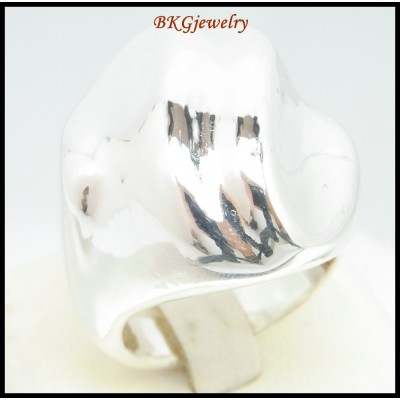 925 Sterling Silver Electroform Fashion Ring Shiny [MR122]