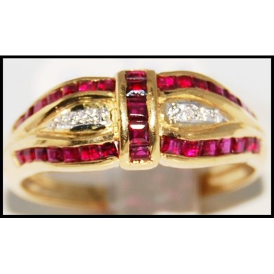 Unique Ruby and Diamond Ring Unique 18K Yellow Gold [R0085]