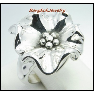 925 Sterling Silver Wholesale Flower Electroforming Ring [MR025]