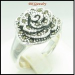 925 Sterling Silver Electroforming Marcasite Rose Ring [MR077]