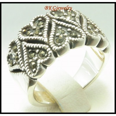 Jewelry Sterling Silver Electroform Marcasite Heart Ring [MR110]