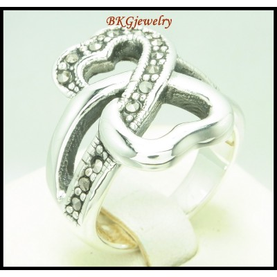 Fashion 925 Sterling Silver Electroforming Marcasite Ring [MR138]