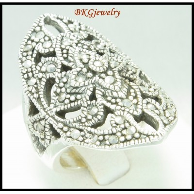 Wholesale Marcasite 925 Sterling Silver Electroform Ring [MR096]