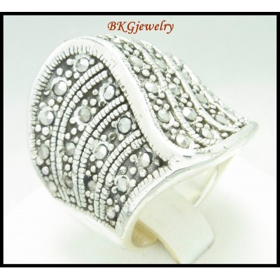 Marcasite Jewelry 925 Sterling Silver Electroform Ring [MR098]