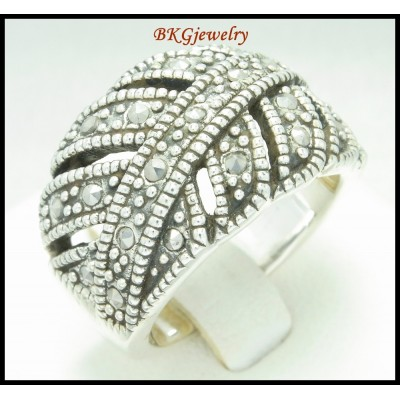 Electroforming Jewelry Ring 925 Sterling Silver Marcasite [MR100]