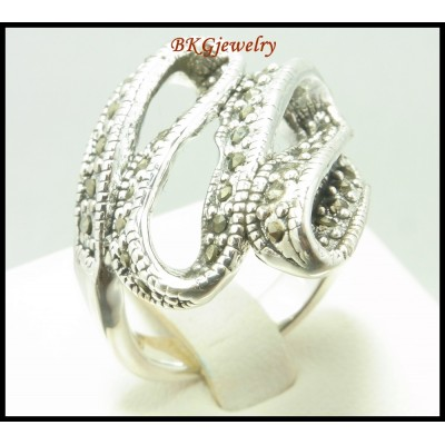 Electroforming 925 Sterling Silver Marcasite Ring Jewelry [MR109]