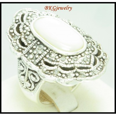 Electroforming Fashion Ring Marcasite 925 Sterling Silver [MR112]