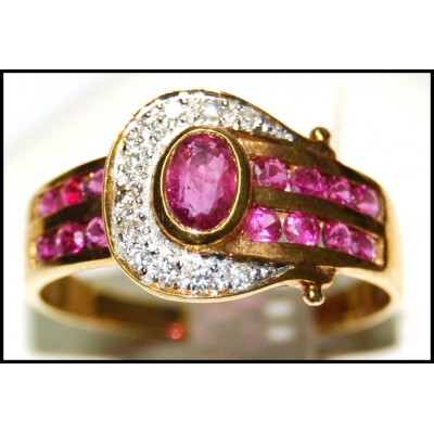 18K Yellow Gold Diamond and Natural Oval Ruby Ring [R0121]