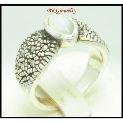 Marcasite 925 Sterling Silver Fashion Ring Electroforming [MR115]