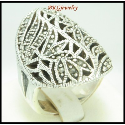 925 Sterling Silver Jewelry Marcasite Ring Electroforming [MR116]
