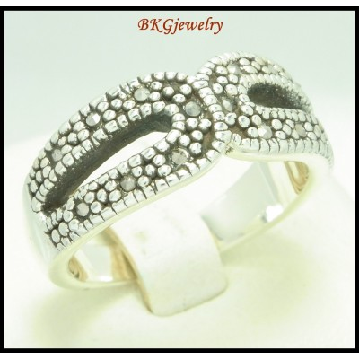 Electroforming Wholesale 925 Sterling Silver Ring Marcasite [MR119]