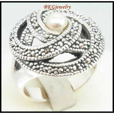 Electroforming Fashion Marcasite 925 Sterling Silver Ring [MR123]