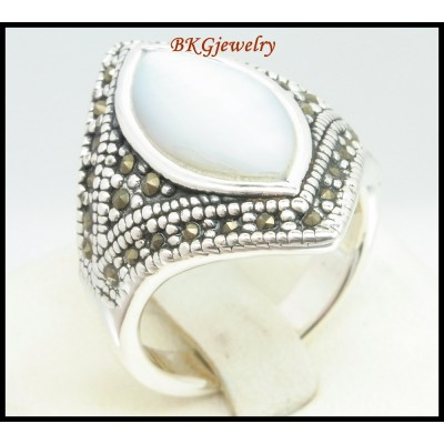 Marcasite Jewelry 925 Sterling Silver Electroforming Ring [MR124]