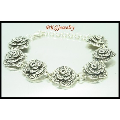 Marcasite Jewelry Electroform Rose Bracelet Sterling Silver [MB042]