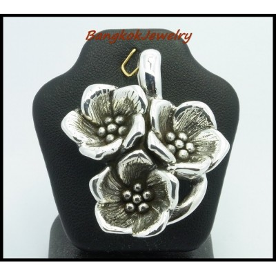 925 Sterling Silver Pendant Fashion Electroform Flower [MP025]