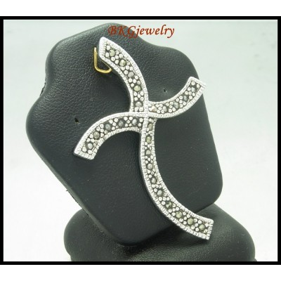Sterling Silver Fashion Electroform Marcasite Cross Pendant [MP035]