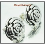 Sterling Silver Rose Fashion Electroform Earrings [ME017]