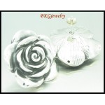Wholesale Large Rose Electroforming 925 Sterling Silver Earrings [ME038]