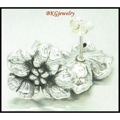 925 Sterling Silver Jewelry Electroform Flower Earrings [ME085]