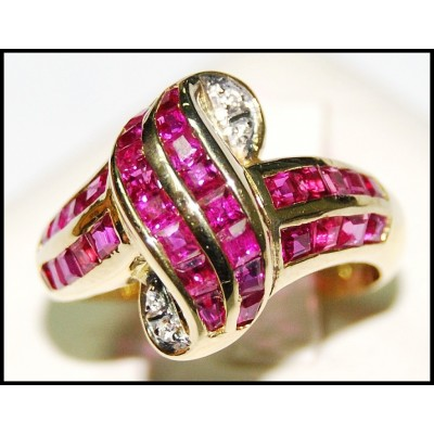 Wedding Diamond and Ruby Ring Unique 18K Yellow Gold [RF0009]