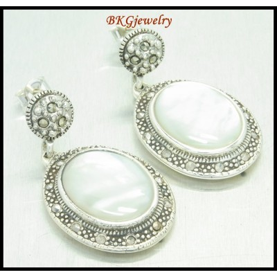 Wholesale Sterling Silver Electroforming Marcasite Earrings [ME122]