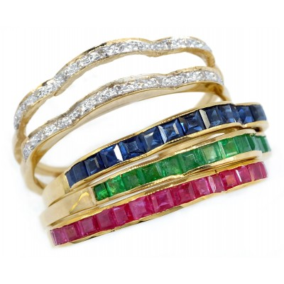 18K Yellow Gold  Emerald Sapphire Ruby and Diamond Stackable Ring [RT0004]