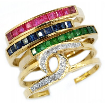 Stacking Rings Diamond and Ruby Emerald Sapphire 18K Yellow Gold [RT0007]