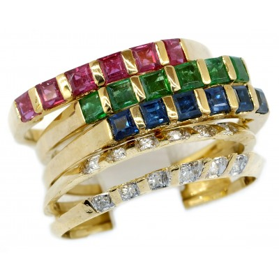 Stackable Rings Emerald Sapphire Ruby and Diamond 18K Yellow Gold [RT0009]