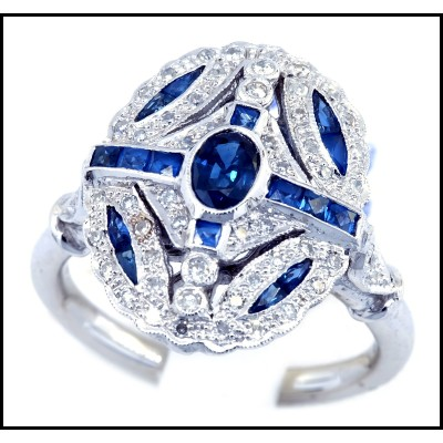 Diamond Blue Sapphire Soild 18 Karat White Gold Victorian Ring Design [RA0003]